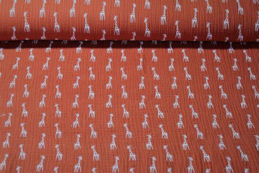 Baumwolle Musselin - Double Gauze Giraffen Print Rostbraun Weiss