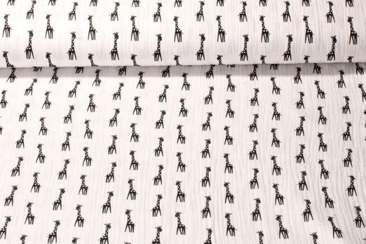 Baumwolle Musselin - Double Gauze Giraffen Print Weiss Schwarz