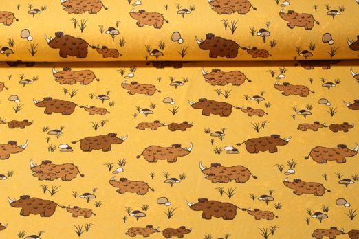 Jersey gemustert - Wollnashorn Gelb Multicolor