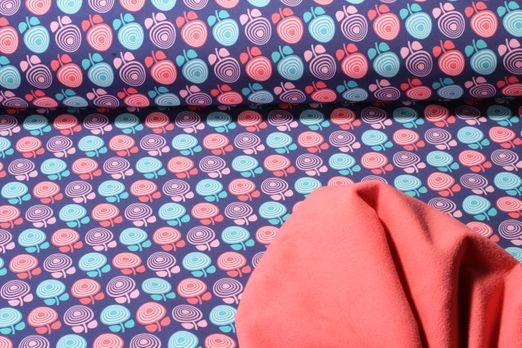 Softshell gemustert - 3-Layer Soft Blumen Blau Multicolor