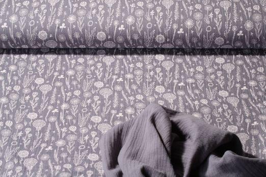 Baumwolle Musselin - Double Gauze Blumenwiese Print Taupe Weiss