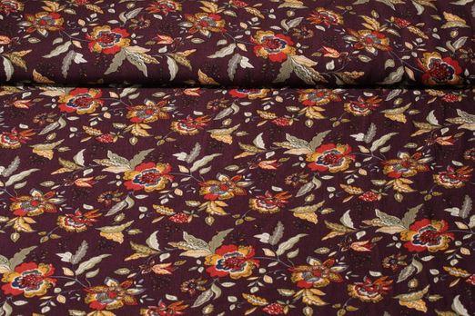 Viskose - Blütenpracht Weinrot Multicolor