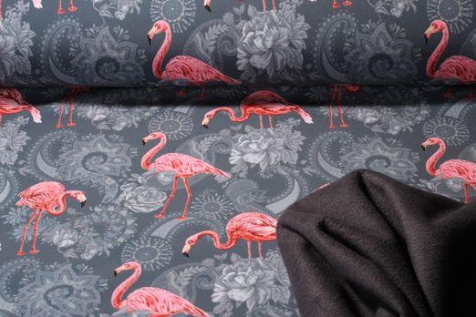 Softshell gemustert - Digital Print Flamingos Grau Multicolor