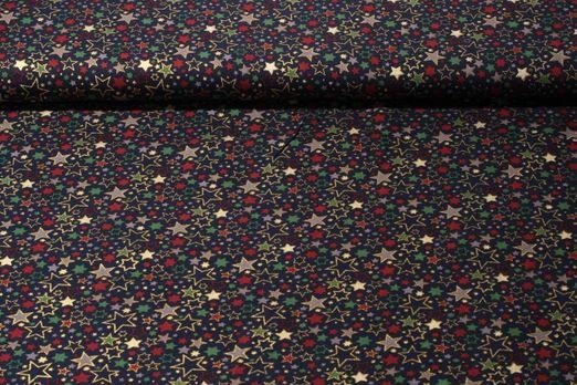 Baumwolle gemustert - Goldsterne Blau Multicolor