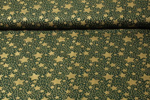 Baumwolle gemustert - Goldener Sternenmix Grün