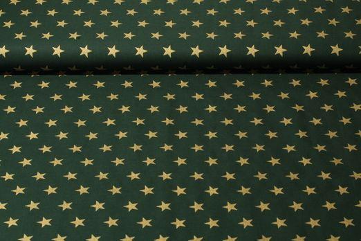 Baumwolle gemustert - Sterne Grün Gold