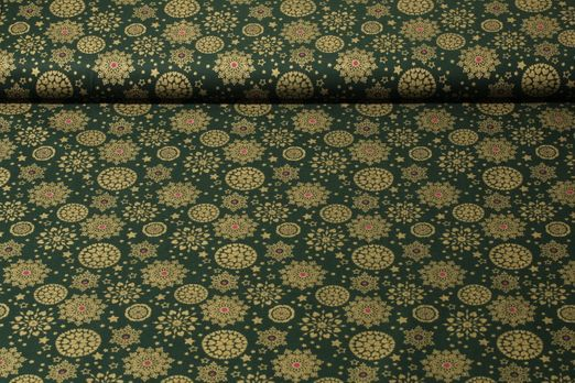 Baumwolle gemustert - Winterfeeling Grün Gold