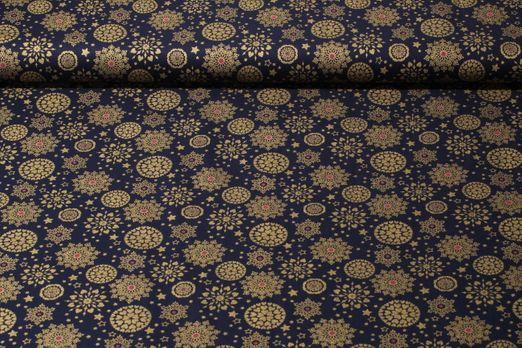 Baumwolle gemustert - Winterfeeling Blau Gold