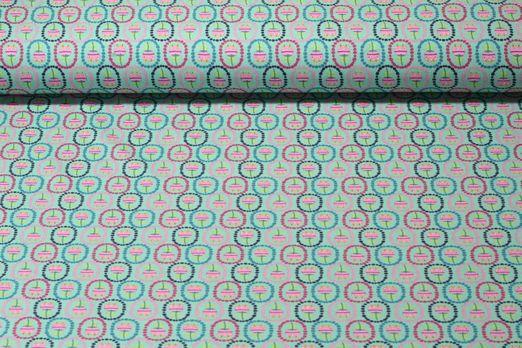 Jersey gemustert - Bunter Tulpenmix Mint Multicolor