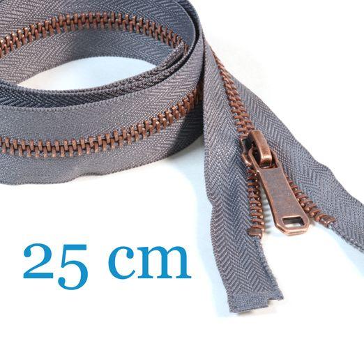 Kupfer Metall Jacken Reißverschluss teilbar 25 cm