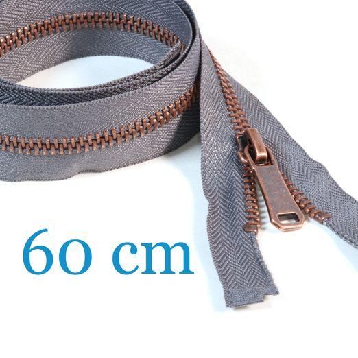 Kupfer Metall Jacken Reißverschluss teilbar 60 cm