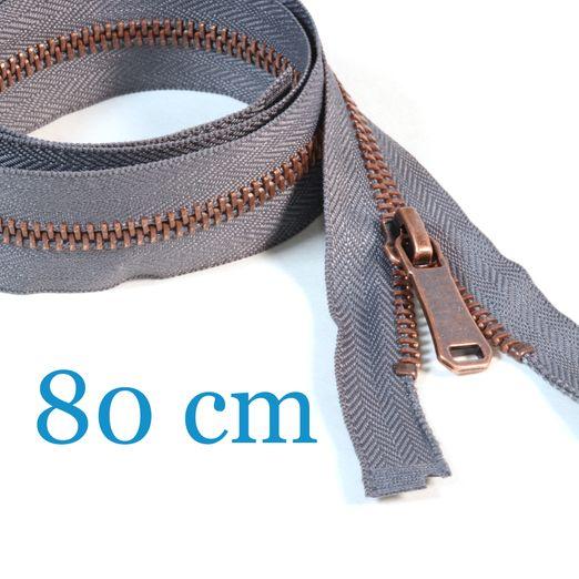 Kupfer Metall Jacken Reißverschluss teilbar 80 cm