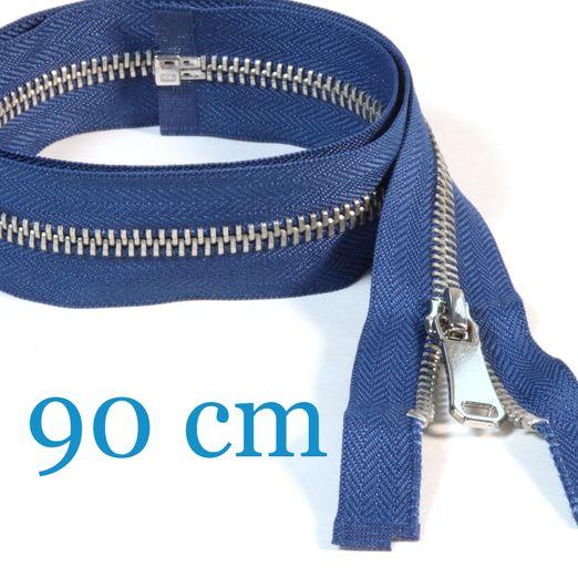 Silber Metall Jacken Reißverschluss teilbar 90 cm