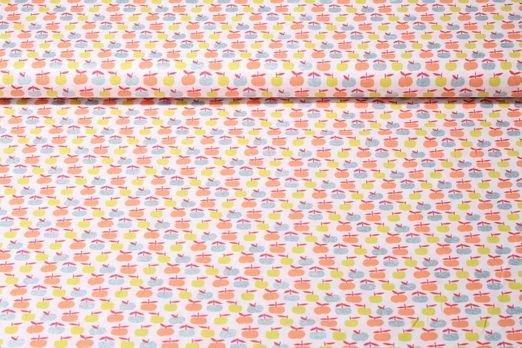 Baumwolle gemustert - Glitzeräpfel Weiß Multicolor