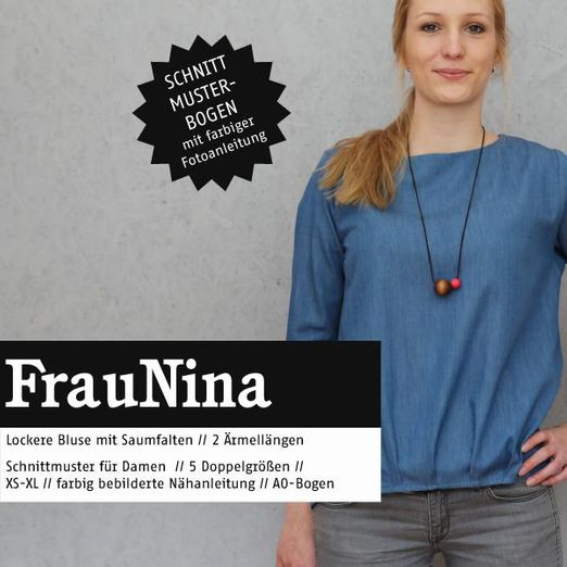 Bluse mit Saumfalten - FRAU NINA - Papierschnittmuster