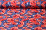 Jersey gemustert - Mohnblume Jeanslook Blau Multicolor 001