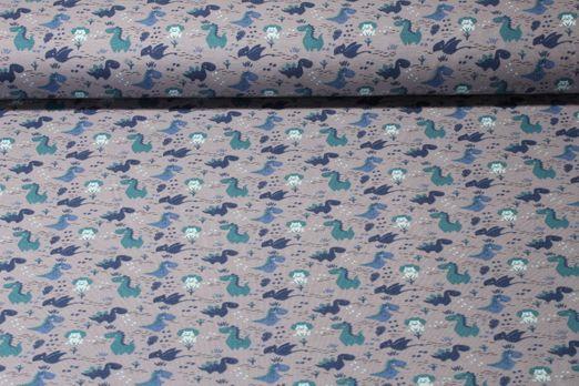 Jersey gemustert - Kleiner Drache Grau Multicolor