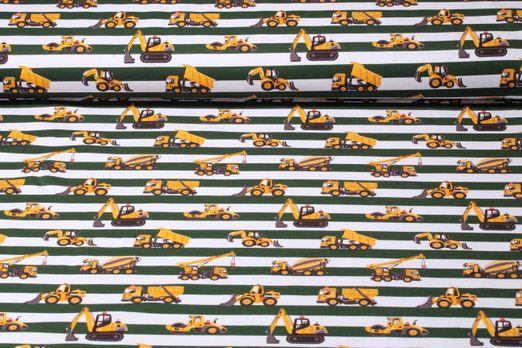Jersey gestreift - Baufahrzeuge Weiß Grün Multicolor