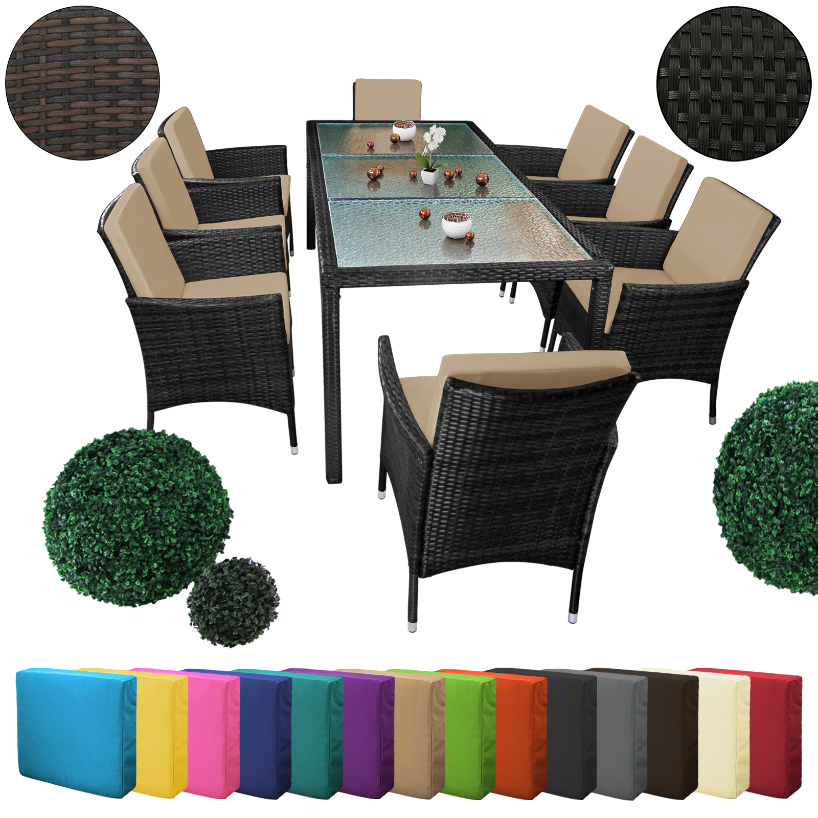 25 teilige polyrattan essgruppe f r 8 personen von bb sport. Black Bedroom Furniture Sets. Home Design Ideas
