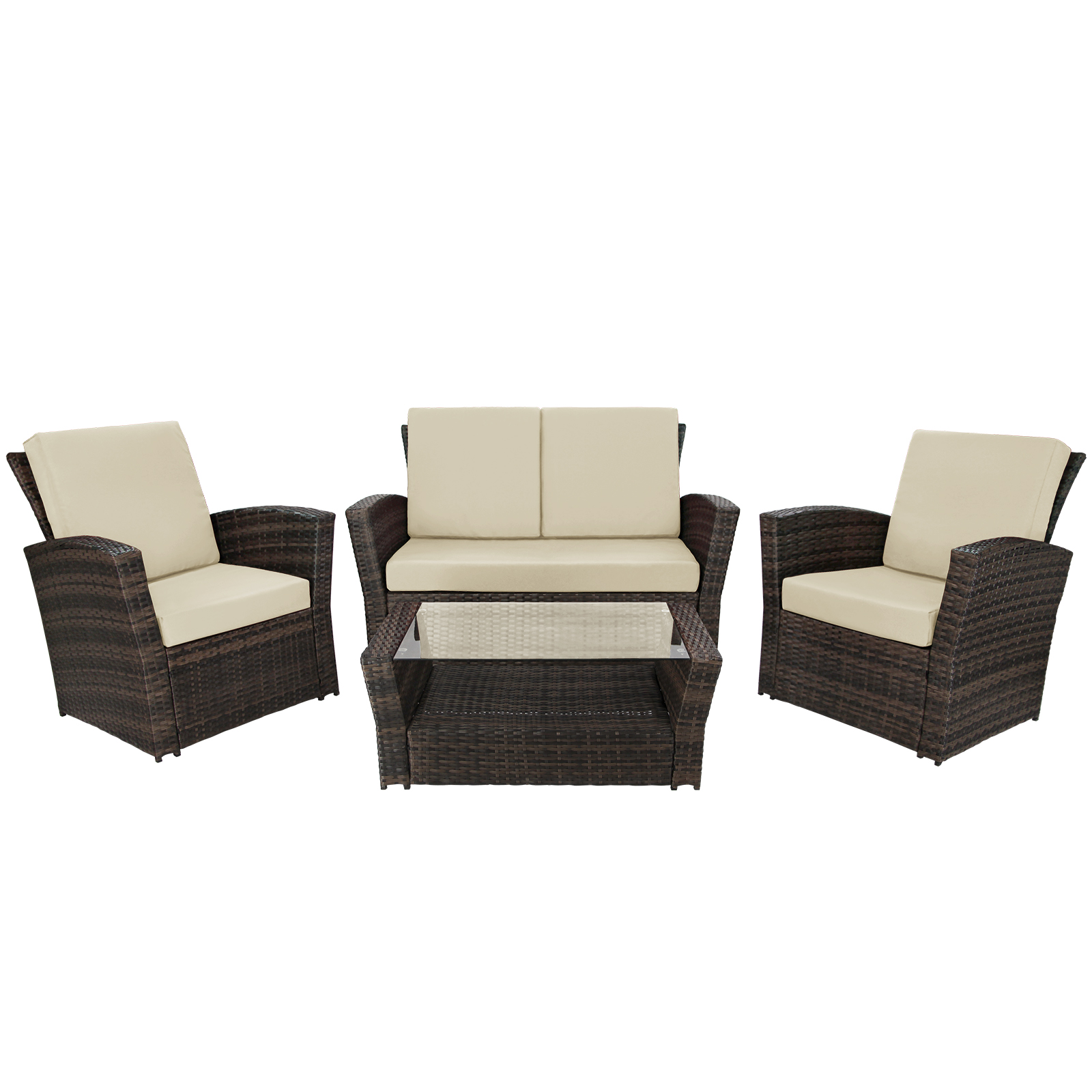 10 teilige polyrattan sitzgruppe lounge rio deluxe gartenm bel garnitur sessel ebay. Black Bedroom Furniture Sets. Home Design Ideas