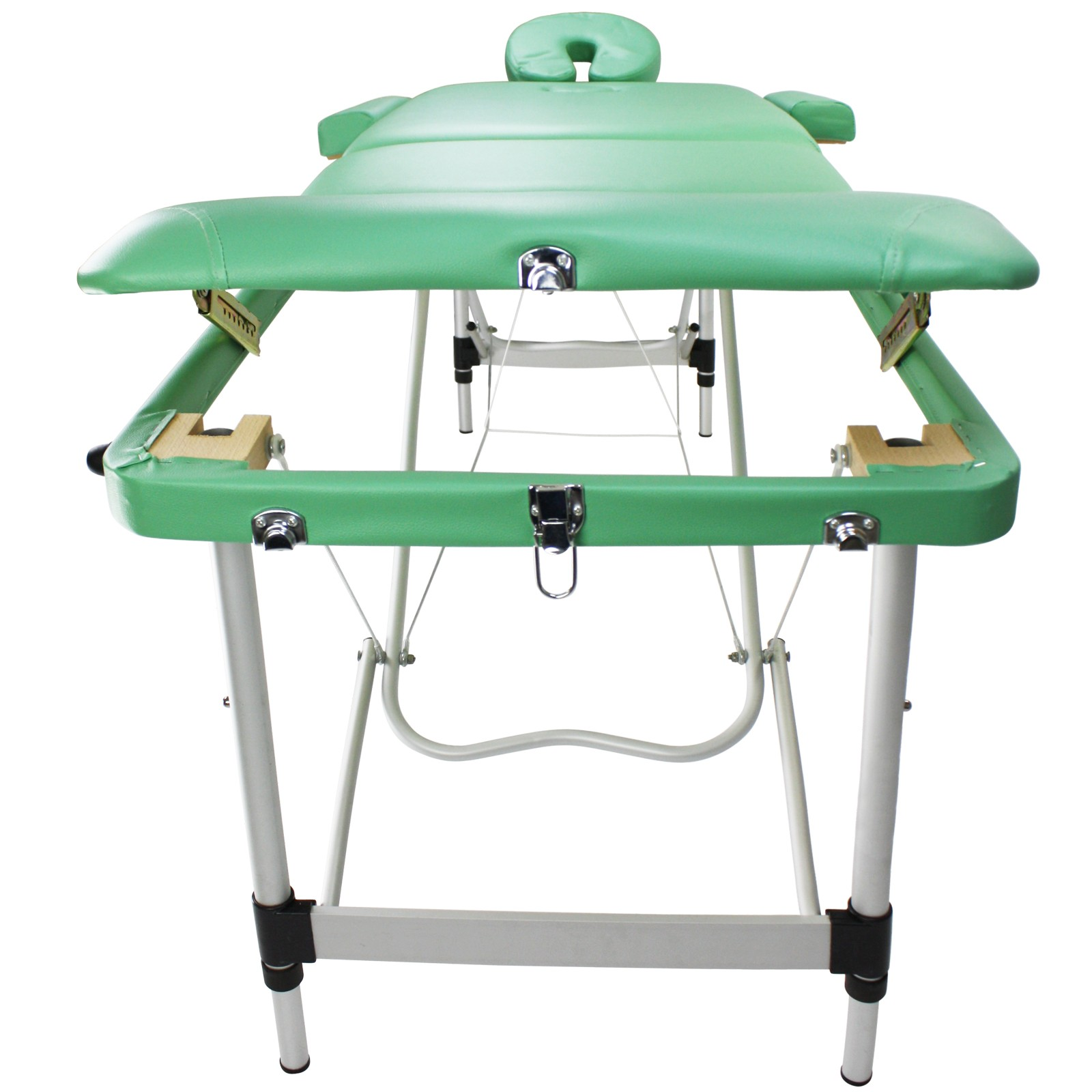 Mobile massage table bed aluminum 3 parts beauty couch for Foldable beauty table