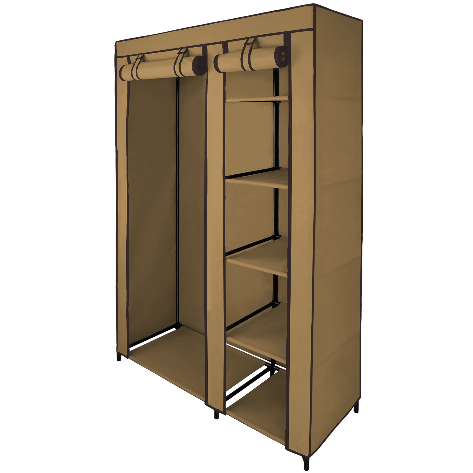 double canvas fabric wardrobe smart 110x45x175 cm with hanging rail cupboard ebay. Black Bedroom Furniture Sets. Home Design Ideas