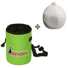 Spar-Paket: Chalkbag HIGHFLY Farbe Green Flash von Alpidex mit Chalk Ball 35 g