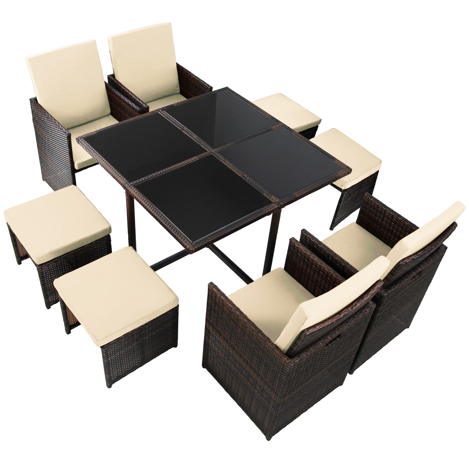 17 teilige polyrattan rattan sitzgruppe essgruppe gartenm bel terassenm bel cube ebay. Black Bedroom Furniture Sets. Home Design Ideas