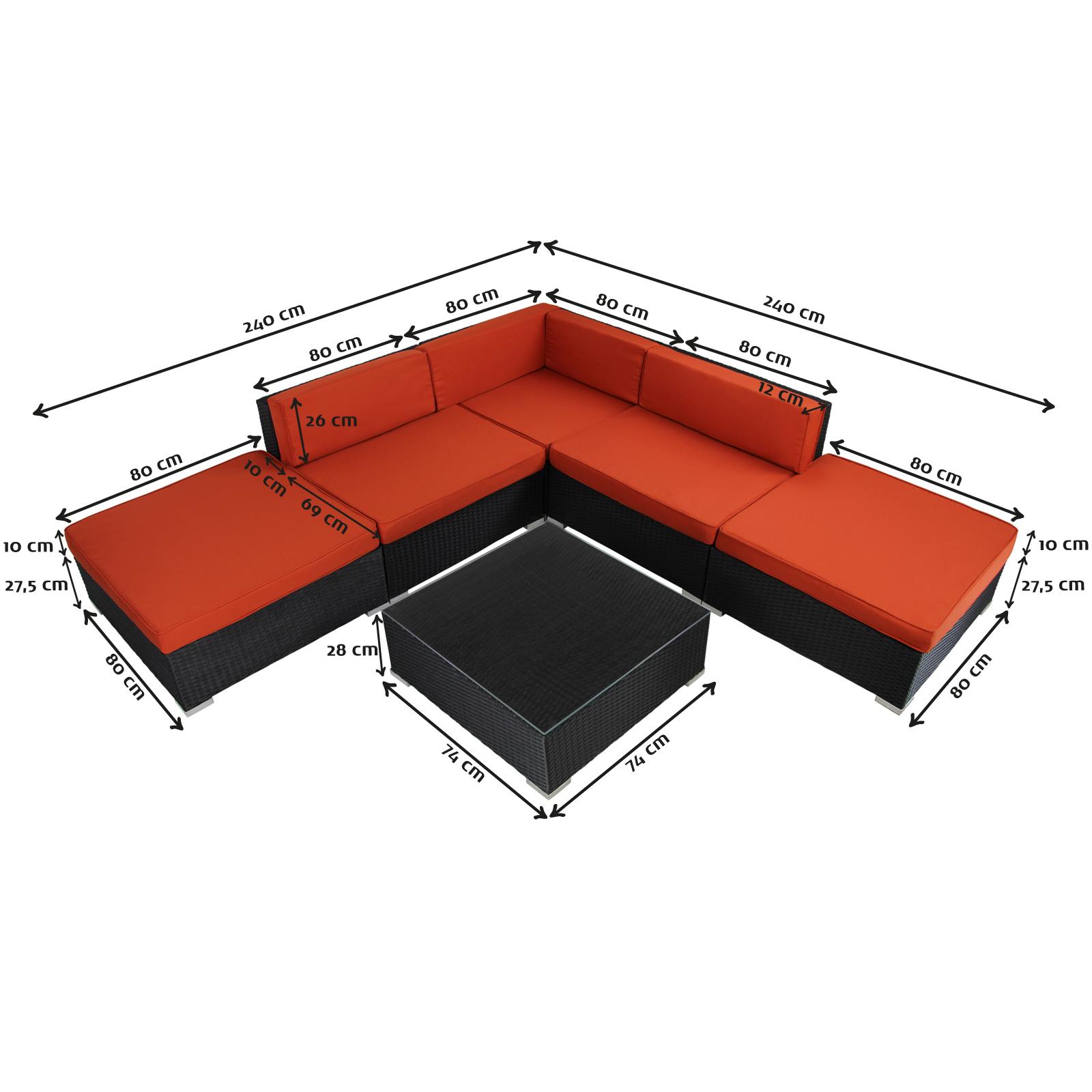 Maße Polyrattan-Lounge Gartengarnitur ARIZONA
