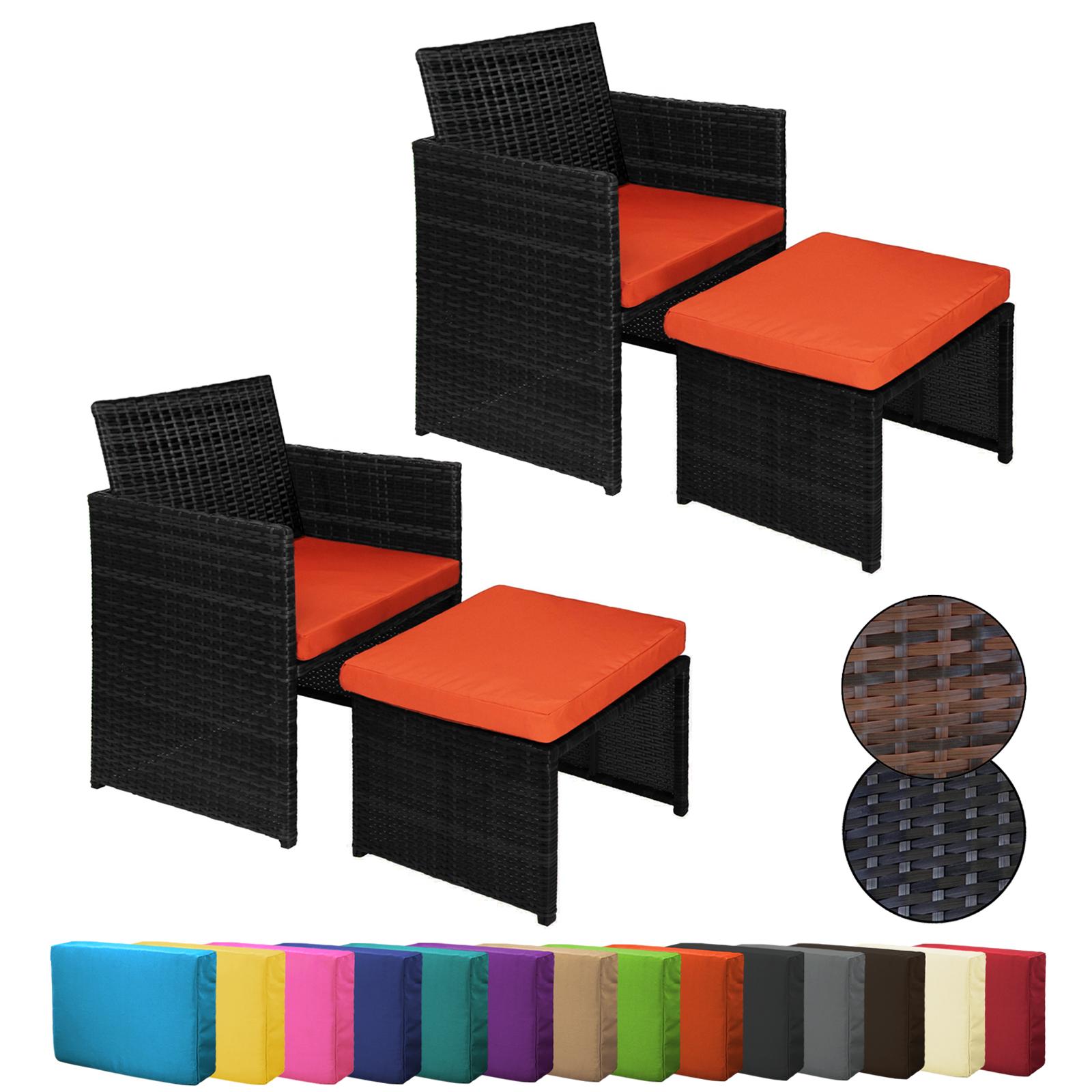 2 Polyrattan Sessel mit Hocker inkl. Sitzkissen und Kissenbezügen in ...