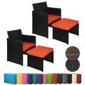 BB Sport 2 Polyrattan Sessel mit Hocker inkl. Sitzkissen und Kissenbezügen in vielen Farben  001