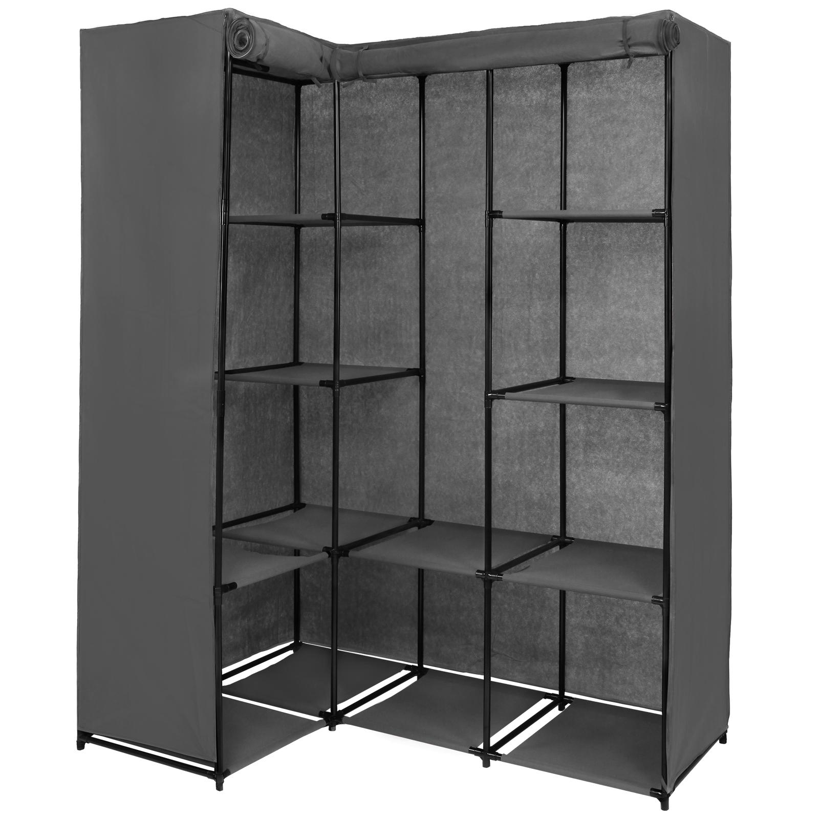 eck kleiderschrank stoffschrank faltschrank 169 x 130 x 45 cm steckregal ebay. Black Bedroom Furniture Sets. Home Design Ideas