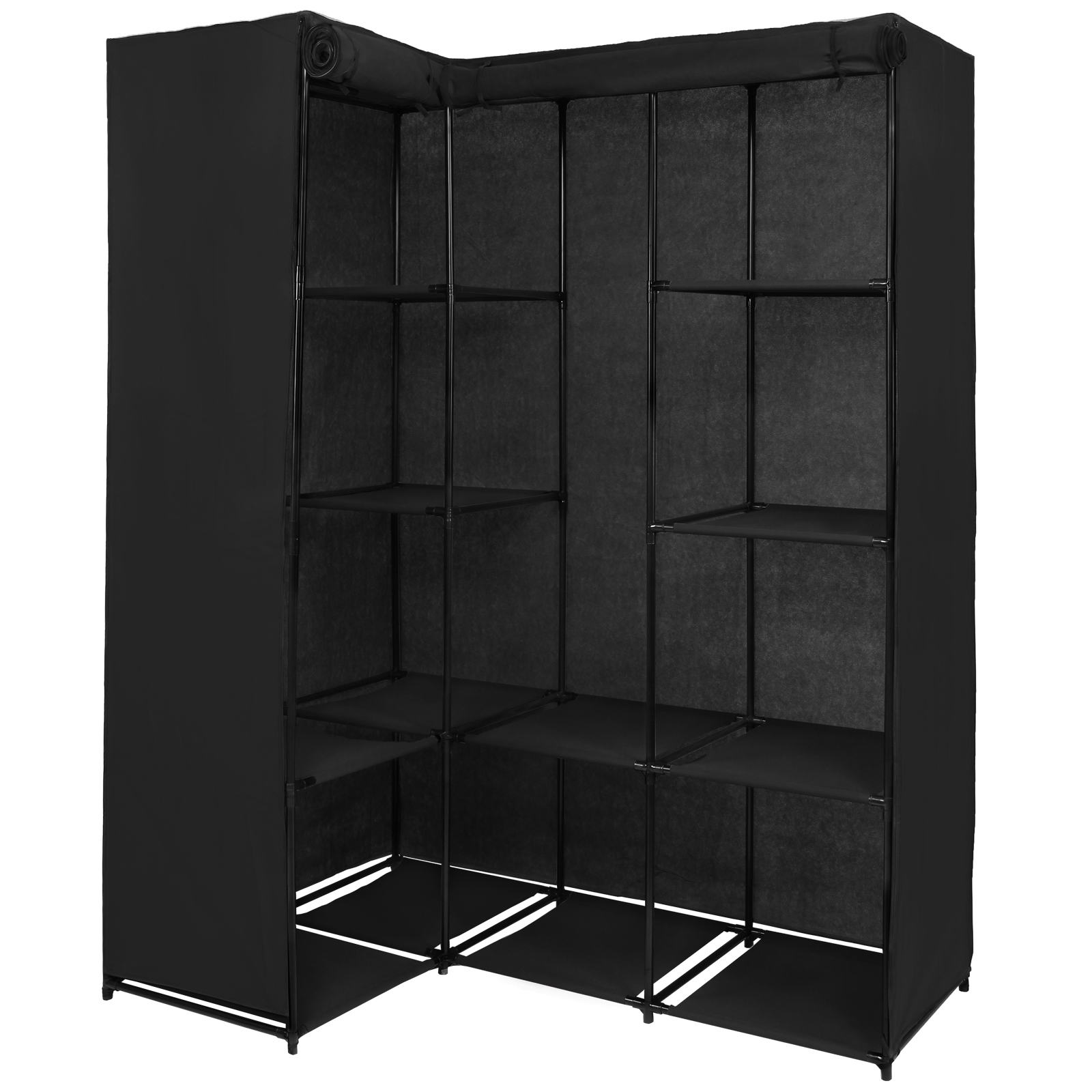 eck kleiderschrank stoffschrank faltschrank 169 x 130 x 45 cm steckregal ebay. Black Bedroom Furniture Sets. Home Design Ideas