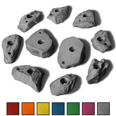 10 M/L Klettergriffe im Set verschieden geformte Leisten mit felsähnlicher Struktur in vielen Farben