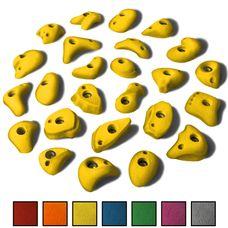 ALPIDEX 25 S/M Klettergriffe im Set verschiedene Formen, schmale Leisten, kleine Henkel, Tritte in vielen Farben