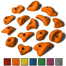 ALPIDEX 15 M / L Klettergriffe im Set verschiedene Formen, kleine Henkel, Tritte, in vielen Farben