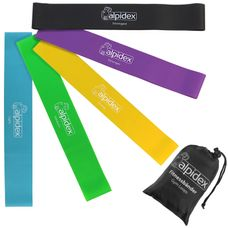 ALPIDEX resistance bands set of 5 loop bands in various strength and colours