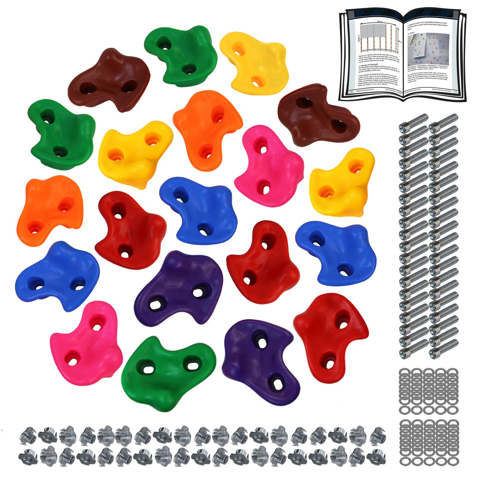 Klettergriffe für Spielturm Befestigungsmaterial 25 Stück Klettersteine Bunt