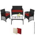 BB Sport Gartenmöbel aus Polyrattan Sitzgruppe für 4 Personen inkl. Tisch und Kissen 001