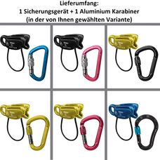 ALPIDEX Set Sicherungsgerät + Aluminium Screw Karabiner