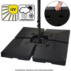 BB Sport Sonnenschirmständer 4-teilig Schirmgewicht für Ampelschirm 90 Liter