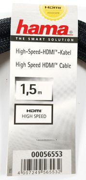 Hama HDMI-Kabel 1,5m GOLD Gewebe Anschluss-Kabel 4K 3D Full-HD 56553 – Bild 2