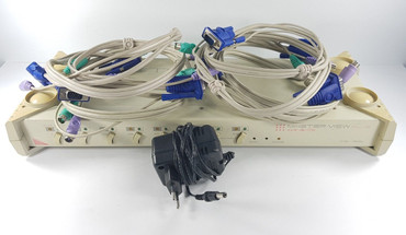 8 Port Master View Plus KVM Switch CS-138 A + Netzteil 4 St. KVM VGA PS/2 Kabel  – Bild 3