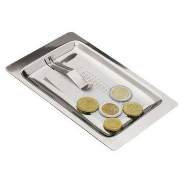 Voldo 2-er Rechnungstablett DAAN Tablett für Rechnung mit Clip stapelbar, eckig aus 18/10 Edelstahl - 2 Größen -  Service Hotel Gastro 100-831
