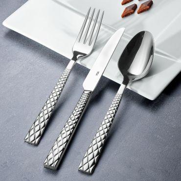 Voldo 6-tlg. Menü Messer Besteck Set BROADWAY 18/10  Edelstahl poliert, besonders massiv, Sondermaterialstärke Rauten-Optik  - 102-126