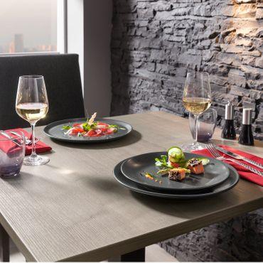 Voldo 6-tlg. Teller Serie GLORIA Porzellan in Keramik-Optik matt schwarz Pizza / Pasta  - verschiedene Größen  - mikrowellengeeignet spülmaschinenfest - Salat Buffet Party Bankett Gastro - 102-996