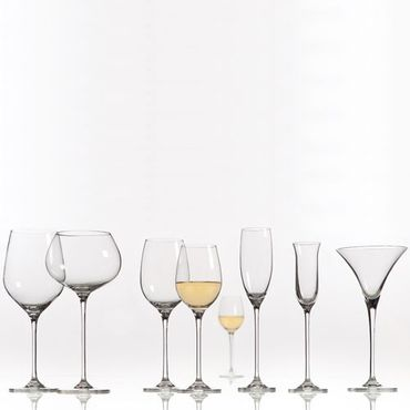 Voldo 6-er Kristall Glas Serie Set ROSARIO - Rillen Optik - besonders stabil - wählbar Weißwein Rotwein Sekt Martini Universalglas Longdrink -  Hotel Gastro Buffet Party Bar Bedarf - 103-300