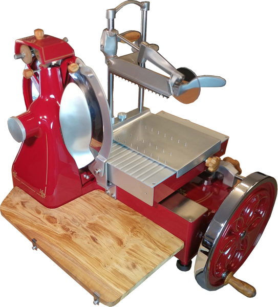 Volano 350 mit Blumenrad und Goldverzierung + Holz - Aufschnittmaschine Schwungradmaschine