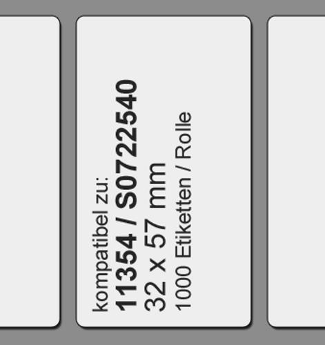 11354 | S0722540 | 32 x 57 mm | kompatibel | 1000 Etiketten | weiß | permanent klebend