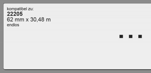 22205 | 62 mm x 30,48 m | kompatibel | endlos | weiß | permanent klebend | inkl. Rahmen